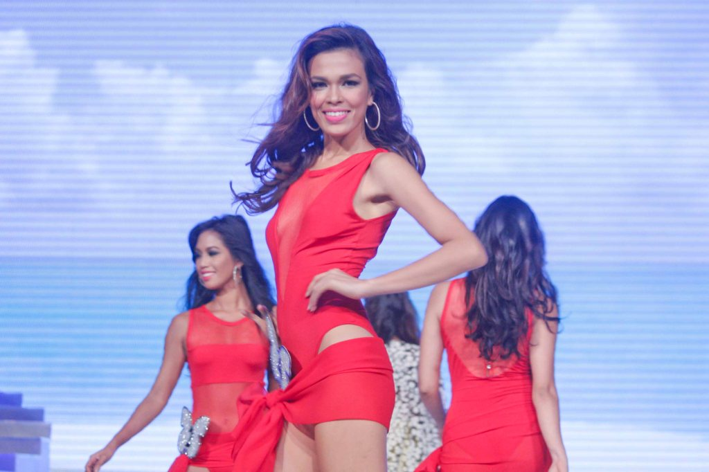 #4 Kaara Tan ; candidates wore swimwear designed by Yvonne Quisumbing, Hajji Godinez for SALMALTO, Philip Tampus, Vania Romoff and OJ Hofer. Photo was taken during Miss Resort's World Final Runway competition at the New Port Performing Arts Theater Resort's World Manila last Nov 23, 2012. Photo by Jude Bautista