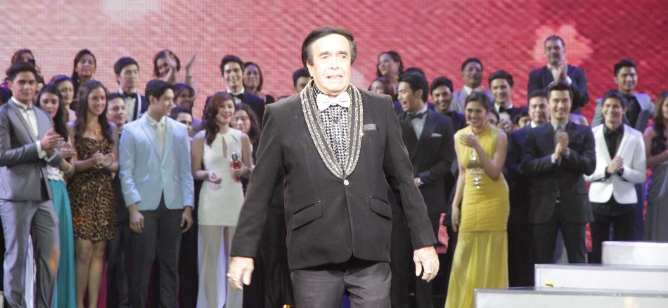 Kuya Germs is touched by the many stars who came out to honor him at the Newport Performing Arts Theater in Resort's World Manila last April 24, 2013. Photo by Jude Bautista.