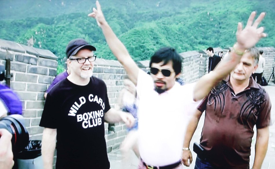 (center) Congressman Manny Pacquiao is flanked from left by Freddie Roach and Michael Koncz. The three visited the Great Wall of China to promote the Pacquiao vs Rios fight on November 24, 2013 (Manila Time)