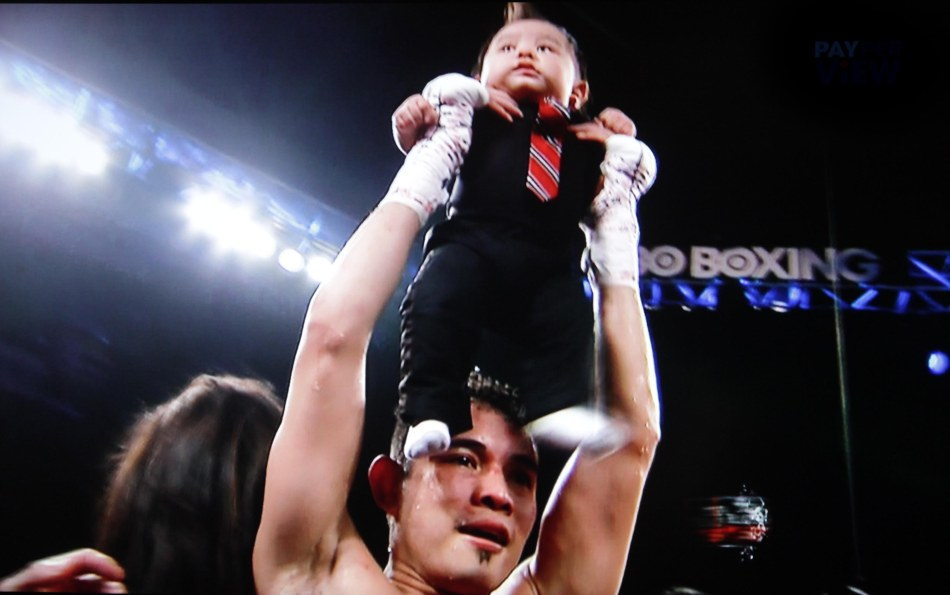 Nonito Donaire Jr. holds new son Jarel aloft reminiscent of Lion King even before his hand was raised.