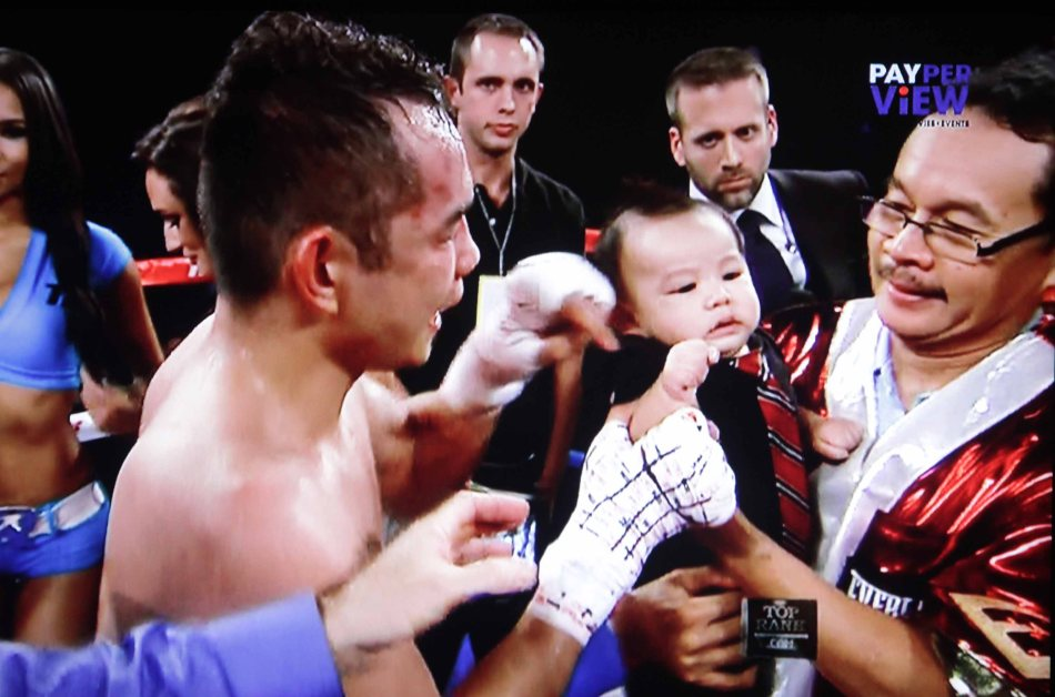 3 generations from left: Nonito Donaire Jr, son JAREL and Nonito Donaire Sr.