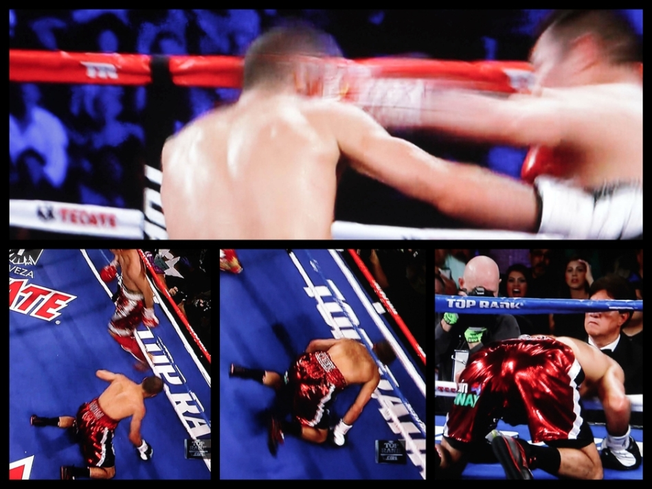 (top) the miraculous left hook of Nonito changes the complexion of the fight. (bottom left) Darchiniyan drops face first to the canvas. The Raging Bull was winning the fight until that powerful left that sent him down.