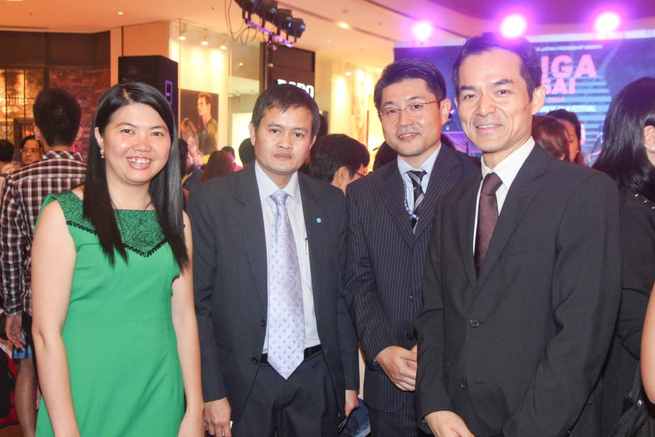 from left: Vietnam Emb 2nd Secretary Le Thi Thu Thuy, Laos Emb 2nd Secretary Phoungern Soukvilai, JICA Sr. Representative Kunihiro Nakasone and Japan Foundation Managing Dir Shuji Takatori at the Shang East Wing where the opening of Eiga Sai fest was held. The Eiga Sai Japanese Film Festival will screen films for free from July 4 to 13, 2014 at the Shang Cineplex, Shang Rila Plaza Mall. Photo by Jude Bautista