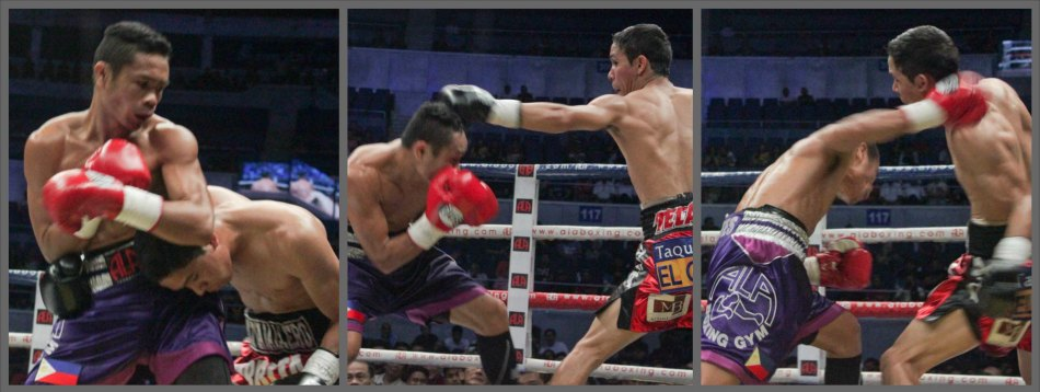 from left: Parra clinches to stop the punishment. Nietes bobs & weaves under Parra's jab, then slips to land the overhand right. PINOY PRIDE 30 D-Day was held at the SMART Araneta Coliseum last March 28, 2015. Photo by Jude Bautista